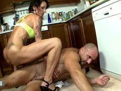 Porn in Kitchen, Perfect Body Masturbation