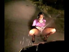 Car, outdoors, Peeing, Pussy, Prostitute, Squirt, Street Whore, Watching, High Heels Short Skirt, Perfect Body Fuck